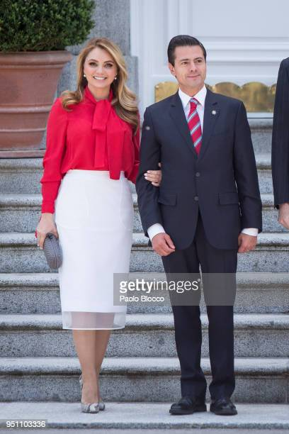 Spanish Royals receive President of Mexico Enrique Pena Nieto and his wife Angelica Rivera at the Zarzuela Palace on April 25 2018 in Madrid Spain