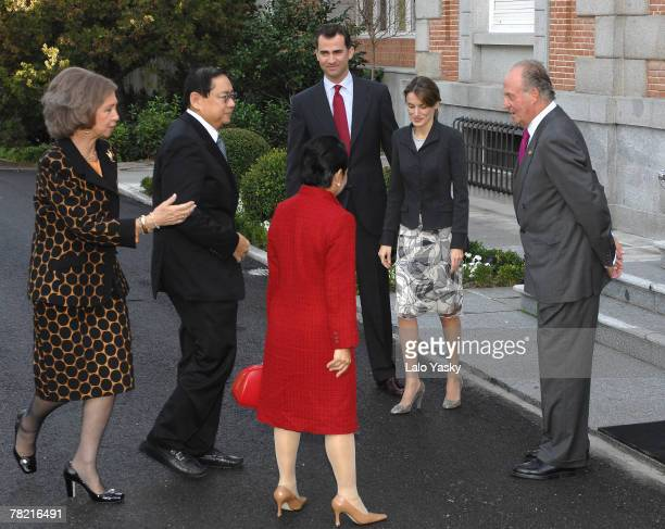 Spanish royals receive President of the Philippines Gloria Macapagal and her husband Jose Miguel Arroyo, at Zarzuela Palace December 3, 2007 in...