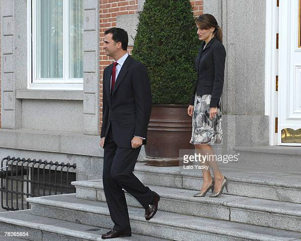 Spanish Royals receive President of the Philippines Gloria Macapagal and her husband Jose Miguel Arroyo, at Zarzuela Palace on December3, 2007 in...