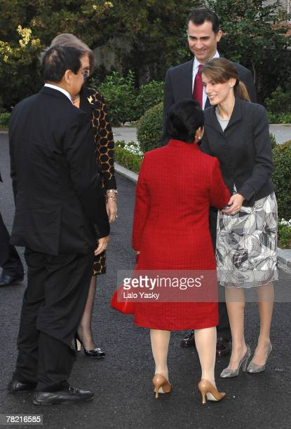 Spanish royals receive the President of the Philippines Gloria Macapagal and her husband Jose Miguel Arroyo at Zarzuela Palace December 3, 2007 in...