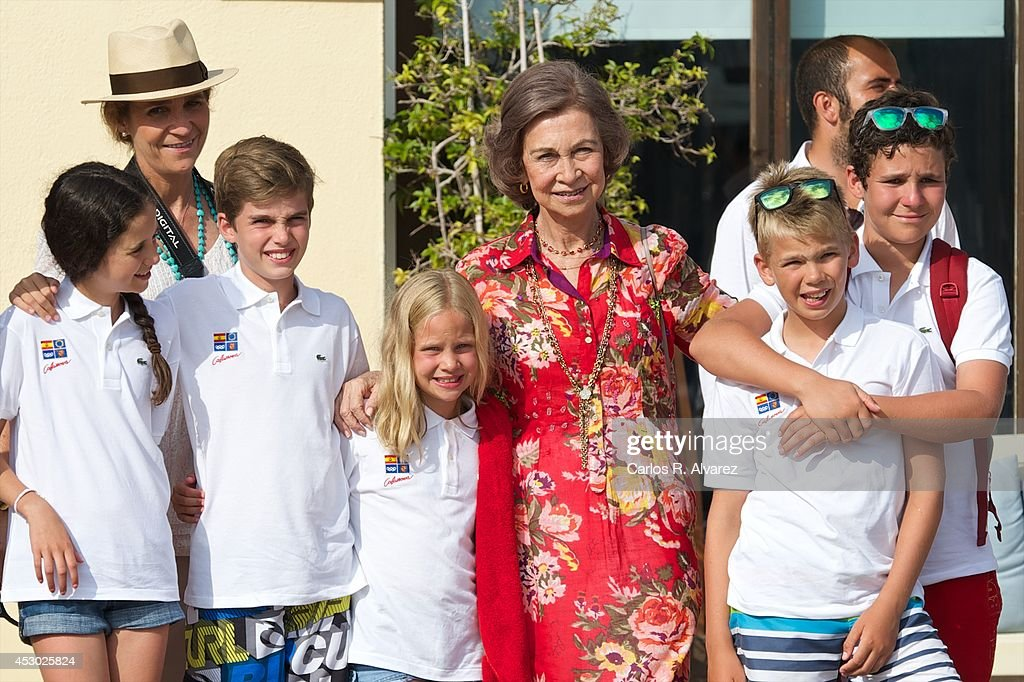 Spanish Royals (L-R) Victoria Federica Marichalar, Princess Elena of Spain, Pablo Nicolas Urdangarin, Irene Urdangarin, Queen Sofia of Spain, Miguel Urdangarin and Felipe Juan Froilan Marichalar pose for the photographers at the Calanova Sailing School on August 01, 2014 in Palma de Mallorca, Spain.
