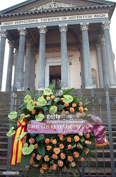 Spanish Royal's wreath during funeral service for Princess Sandra Torlonia grand daughter of King Alfonso XIII of Spain on January 08 2015 in Turin...