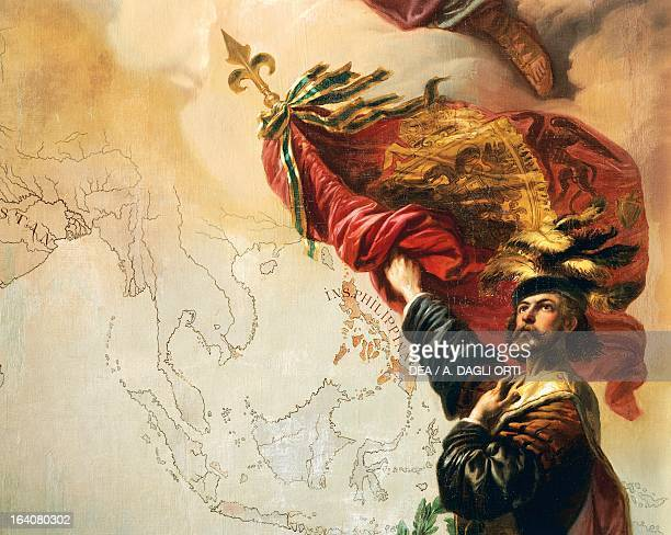 Spanish rule over the islands of Asia, detail from Allegory on Charles V of Habsburg as Ruler of the world, painting by Peter Johann Nepomuk Geiger ,...
