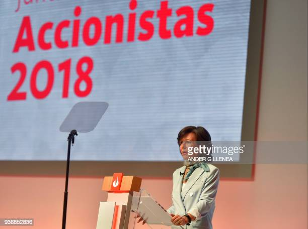 Spanish Santander Bank Executive Chairman Ana Botin speaks at the bank's general shareholders meeting in Santander north of Spain on March 23 2018 /...