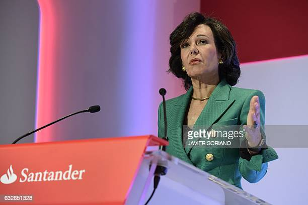 Spanish Santander Bank Executive Chairman Ana Botin speaks during a press conference announcing the company's 2016 results in Boadilla de Monte near...