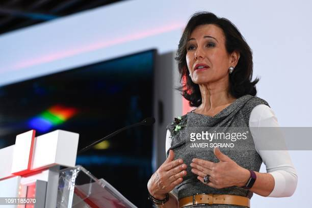 Spanish Santander Bank executive chairperson Ana Botin holds a press conference to announce the company's 2018 results in Madrid on January 30 2019