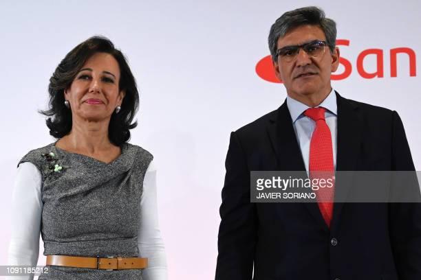 Spanish Santander Bank executive chairperson Ana Botin poses with Santander Group's chief executive officer Jose Antonio Alvarez during a press...