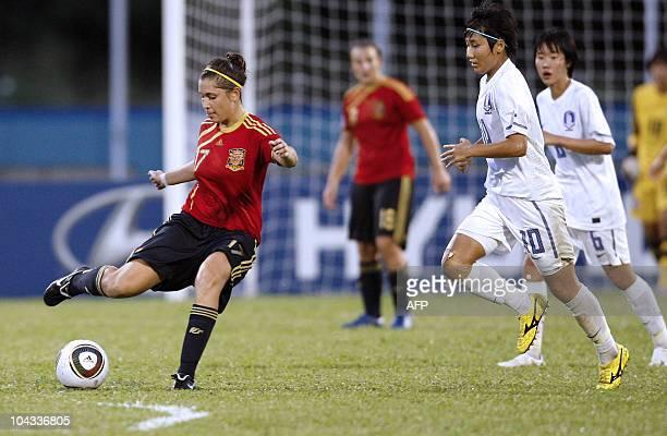 Spanish Sara Merida kicks the ball during the FIFA Women's Under17 semifinal match against South Korea on September 21 at the Ato Boldon Stadium in...