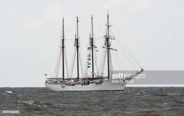 Spanish school ship Juan Sebastian Elcano approaches Montevideo's port during the regatta Velas Uruguay 2018 in the framework of the International...