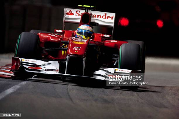 Spanish Scuderia Ferrari Formula One driver Fernando Alonso driving his Ferrari F10 racing car during the 2010 Singapore Grand Prix, Marina Bay...