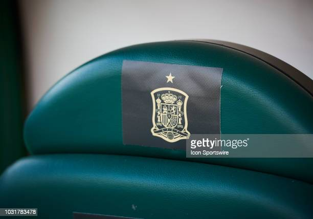 Spanish selection shield on a seat before the UEFA Nations League A Group four match between Spain and Croatia on September 11 at Estadio Manuel...