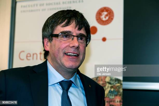 Spanish separatist leader Carles Puigdemont attends a conference at Copenhagen University during his first visit outside Belgium since he went into...