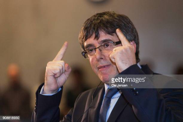 Spanish separatist leader Carles Puigdemont speaks at a conference at Copenhagen University during his first visit outside Belgium since he went into...