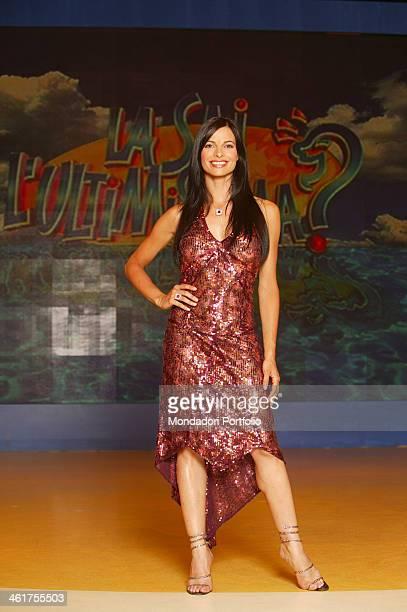 Spanish showgirl Natalia Estrada posing in television variety show La sai l'ultimissima a Milan on June 5th 2003