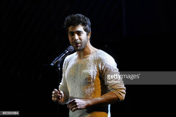 Spanish singer Agustin Galiana takes part in the gala celebrating the 100th anniversary of the creation of the French League against cancer in the...