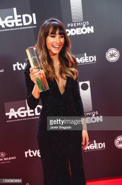 Spanish singer Aitana Ocaña aka Aitana winner of The Best New Artist award poses in the trophy room during the 1st Odeon Awards at Teatro Real on...