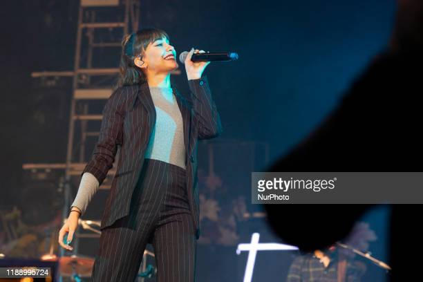 Spanish singer Aitana perform during a concert of Colombian band Morat as part of his tour 'Balas Perdidas' at WiZink Center in Madrid Spain 15...