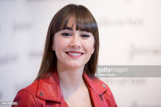 Spanish singer Aitana poses during a photocall as she was announced as Stradivarius ambassador on April 3 2018 in Madrid Spain