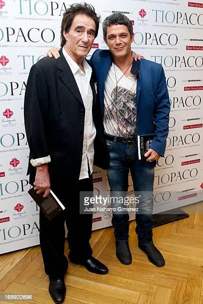 Spanish singer Alejandro Sanz and Francisco Pizarro attend 'Tio Paco' book presentation at Hotel de las Letras on June 4 2013 in Madrid Spain
