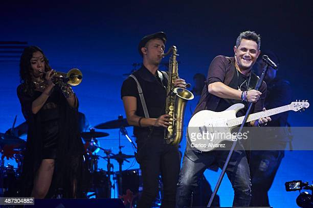 Spanish singer Alejandro Sanz performs on stage at the Barclaycard Center on September 8 2015 in Madrid Spain