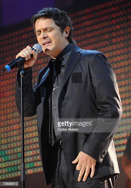 Spanish singer Alejandro Sanz performs on stage during the 53rd Ondas Awards ceremony at Teatre Musical on November 23 2006 in Barcelona Spain