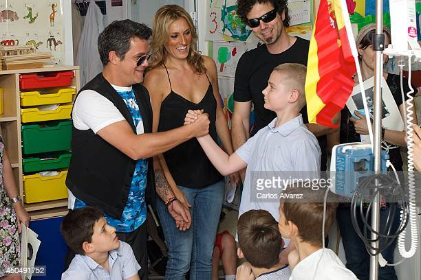 Spanish singer Alejandro Sanz visits '12 de Octubre' Hospital on June 12 2014 in Madrid Spain