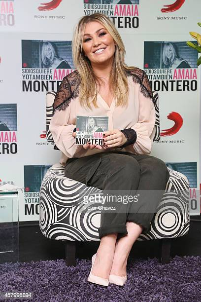 Spanish singer Amaia Montero attends a press conference to promote her new album Si Dios Quiere Yo Tambien at Sony Music on October 28 2014 in Mexico...