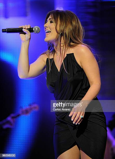 Spanish singer Amaia Montero performs on stage during the ''Cadena Dial'' 2010 awards at the Tenerife Auditorium on February 11 2010 in Tenerife Spain