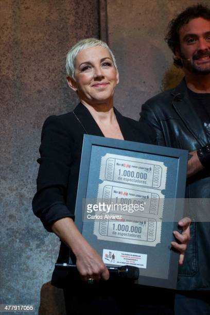 Spanish singer Ana Torroja receives the Hoy No Me Puedo Levantar Triple Platinum Ticket award at the Coliseum theater on March 11 2014 in Madrid Spain