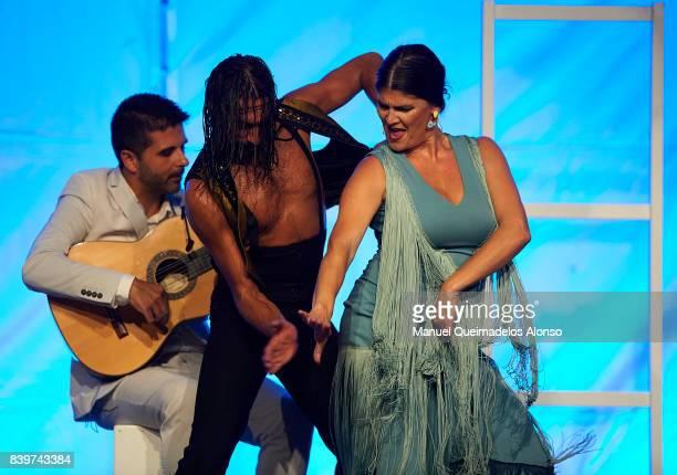 Spanish singer Anabel Rivera and Spanish Flamenco Dancer Eduardo Guerrero perform during 'Faro' Flamenco tour at the Valencia Port Clock Building on...