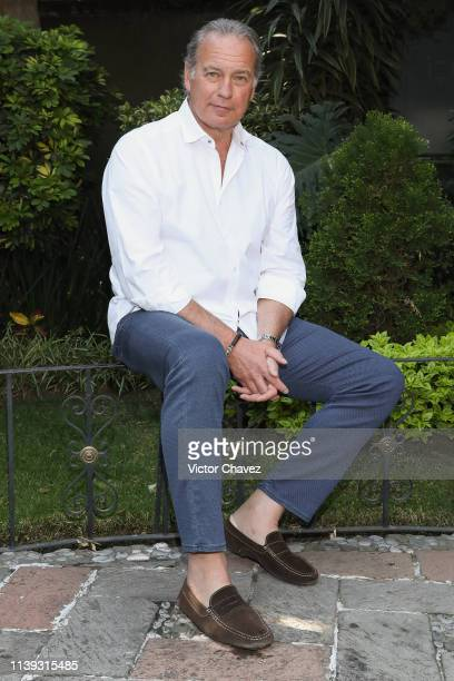 Spanish singer and actor Bertin Osborne attends a photo call and press junket to promote his new album En Ese Vaso at Universal Music on April 25...