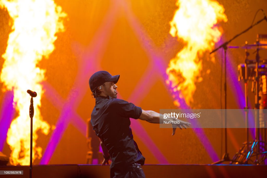 Spanish singer and actor Enrique Iglesias performs live on stage at