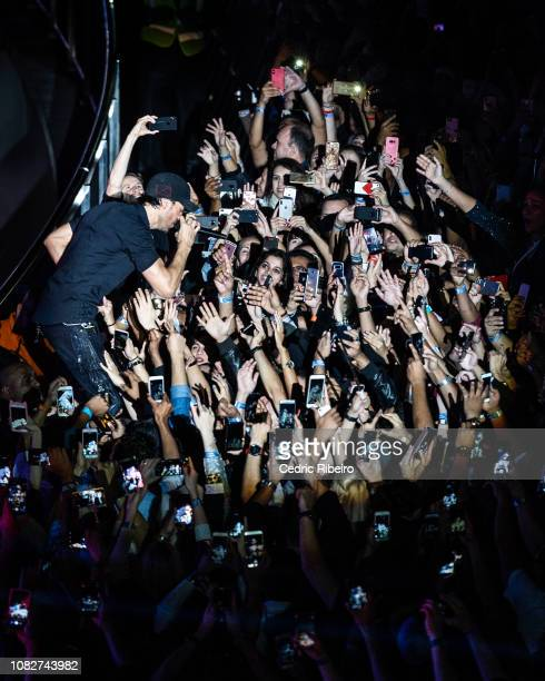 Spanish singer and actor Enrique Iglesias performs live on stage at The Pointe Palm Jumeirah on December 14 2018 in Dubai United Arab Emirates