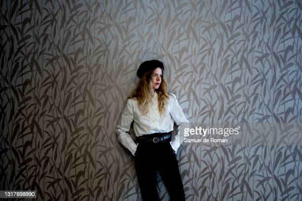 Spanish singer and actress Christina Rosenvinge poses for a portrait session during the Lo que viene Film Festival at on May 12, 2021 in Tudela,...