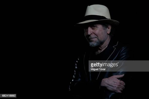 Spanish singer and composer Joaquin Sabina poses for pictures during a press conference promoting his new album Lo Niego Todo at Camino Real Polanco...