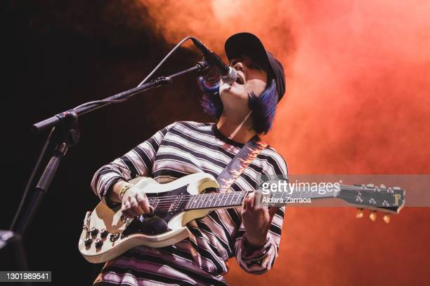 Spanish singer and guitarist Elena Nieto of Yawners performs on stage at Madrid Brillante Festival at Teatro Reina Victoria on February 13, 2021 in...