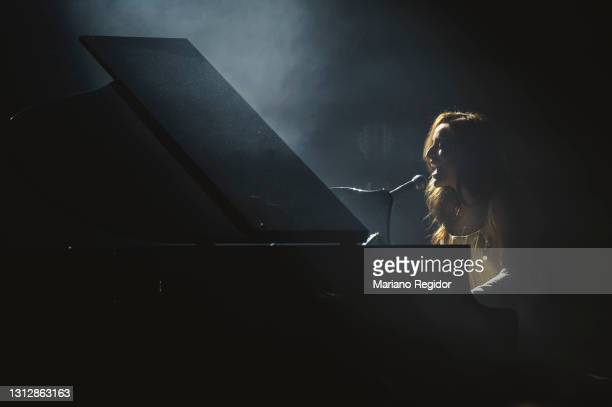 Spanish singer and pianist Belen Aguilera performs on stage during Live Nation's Carrete Festival at La Riviera on April 16, 2021 in Madrid, Spain.