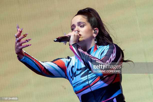 Spanish singer and songwriter Rosalía performs during the Astroworld Festival at NRG Stadium on November 9 2019 in Houston Texas