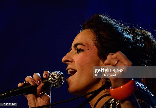 Spanish singer Bebe performs on stage at the Palau de Musica on February 17 2012 in Barcelona Spain