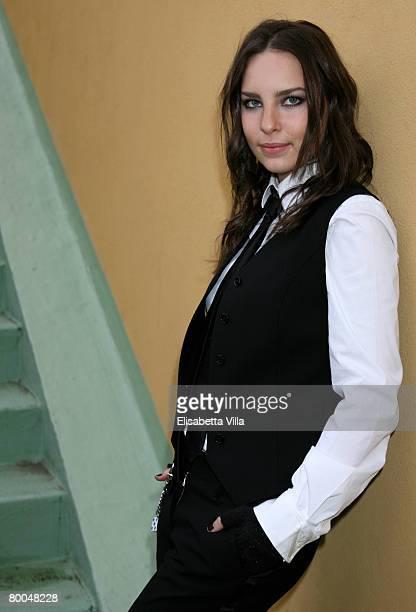 Spanish singer Belinda poses at the Teatro Ariston on February 28 2008 in Sanremo Italy