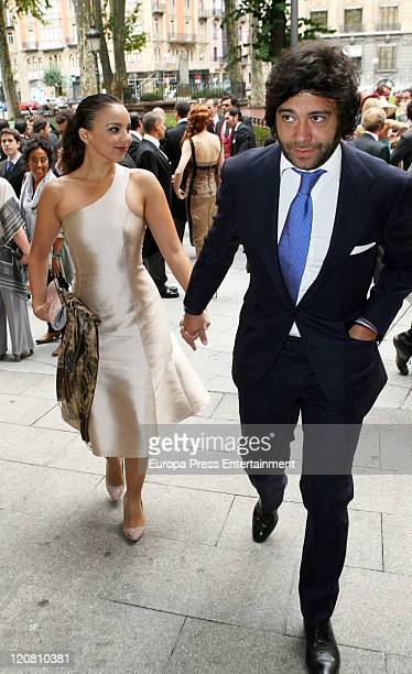 Spanish singer Chenoa and his boyfriend Alain Cornejo attend the wedding of spanish model Ines Sainz to her boyfriend Christian Martin Perez Carrion...