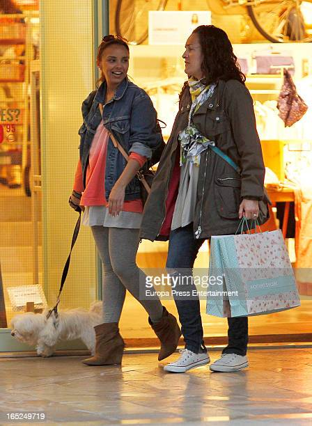 Spanish singer Chenoa is seen going for shopping on March 30 2013 in Palma de Mallorca Spain