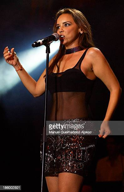 Spanish singer Chenoa performs live in Cadena Dial 'Lo Mejor De Aqui Y De Alli' 2013 at Pabellon Municipal Fuente de San Luis on October 25 2013 in...