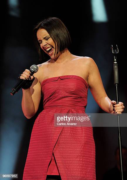 Spanish singer Chenoa performs on stage during the ''Cadena Dial'' 2010 awards at the Tenerife Auditorium on February 11 2010 in Tenerife Spain