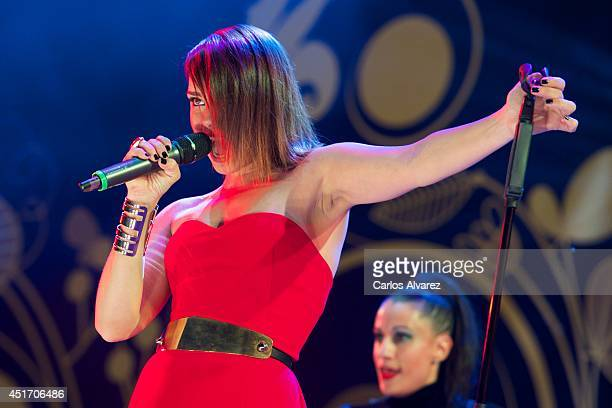 Spanish singer Chenoa performs on stage during the Shangay Pride concert at the Vicente Calderon stadium on July 4 2014 in Madrid Spain