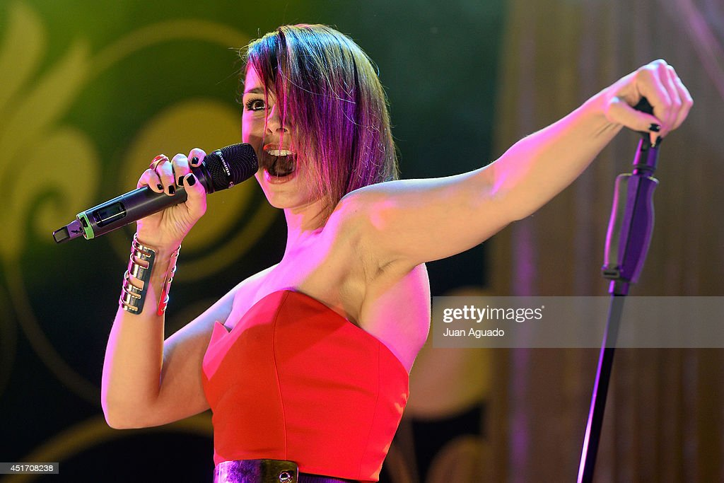Spanish singer Chenoa performs on stage during the Shangay Pride concert at the Vicente Calderon stadium on July 4, 2014 in Madrid, Spain.