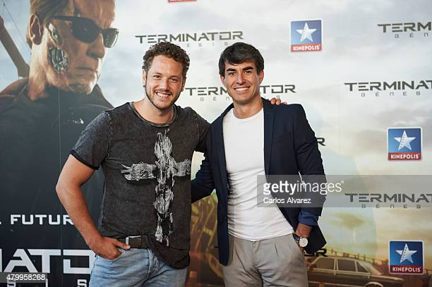Spanish singer Daniel Diges and Spanish actor Daniel Muriel attend the Terminator Genesis premiere at the Kinepolis cinema on July 8 2015 in Madrid...