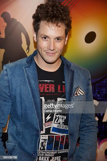 Spanish singer Daniel Diges attends 40 El Musical premiere at the Rialto Theater on January 31 2013 in Madrid Spain