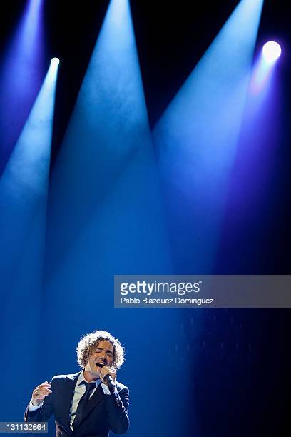 Spanish singer David Bisbal performs during a rehearsal for the press before a concert at Teatro Real on November 1 2011 in Madrid Spain