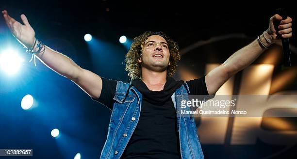 Spanish singer David Bisbal performs in concert at the Jardines de Los Viveros on July 13 2010 in Valencia Spain